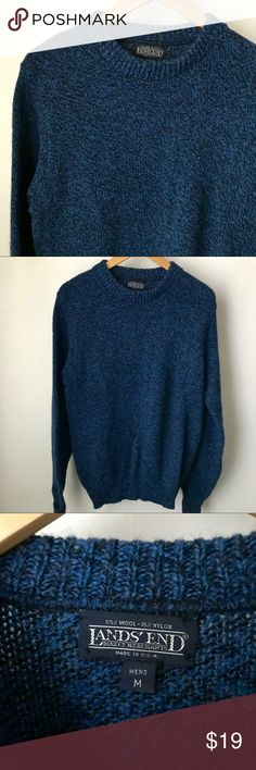 "Lands' End Wool Sweater Men's M Relax in style in this awesome blue sweater by Lands' End. Take care of it and it will last a long time! 85% Wool. Size M. Pre-loved and in good shape. Shoulder to hem: 25"", outer sleeve: 23"" folded at sleeve, pit to pit: 21"".   Shop smart by maximizing your shipping $. Use the filter function and peruse my closet of over 1,000 items! Bundle and save!! Lands' End Sweaters Crewneck"