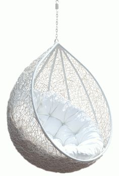 Furniture, Good Looking White Hanging Egg Chair With White Fabric Tufted Seater As Inspiring Patio Backyard Furniture Ideas: Extraordinary Hanging Egg Chair Contemporary Design And Photos