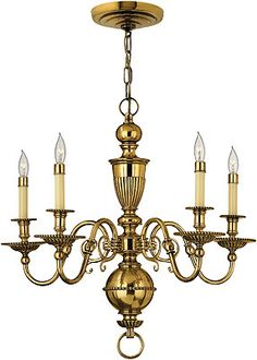 Cambridge 5 Light Chandelier in Solid Brass | House of Antique Hardware