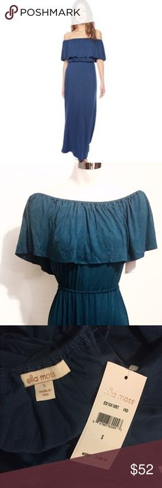 Navy off the shoulder Maxi by Ella Moss Brand new Ella Moss maxi dress 👗 navy blue color. Off the shoulder, long and flowy fabric. Ella Moss Dresses Maxi