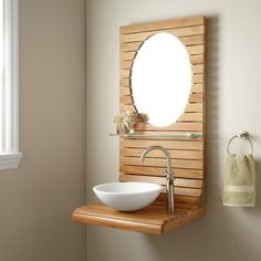Add another dimension to your modern bathroom remodel with this wall-mount teak vanity. The sleek design of this piece of decor brings an earthy, spa-like feel to your space. Small Bathroom Sinks, Rustic Bathroom Vanities, Bathroom Design Small, Bathroom Interior Design, Vanity Bathroom, Downstairs Bathroom, Bathroom Ideas, Bathrooms, Lavabo Design