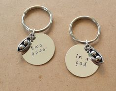 Two Peas in a Pod Keychain Set - Best Friend's Keychain - Hand Stamped, Customized by ClassyCraftsbyAsh on Etsy https://www.etsy.com/listing/180440794/two-peas-in-a-pod-keychain-set-best