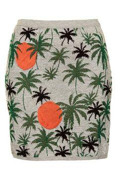palm tree knit skirt // summer