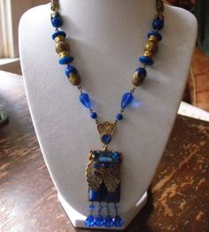 NEIGER necklace Deco Nouveau lapis glass necklace czech sapphire necklace