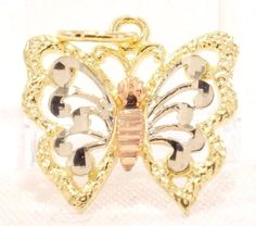 14K Solid Gold Pendant Butterfly Cute Dainty Two-tone Textured Free Shipping  #Pendant