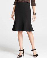 """Flared Ponte Skirt - The perfect mix of fit and flare, our beautifully seamed ponte skirt turns up the volume with a twirl-worthy silhouette. Hidden back zipper with snap closure. 24"""" long."""