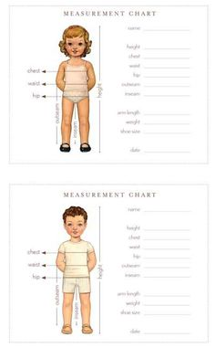 Measurement chart for children - wallet size! Keep those stats with you at all times for those unexpected shopping stops.