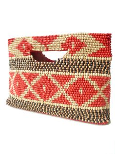 wood beaded clutch for Summer and Spring