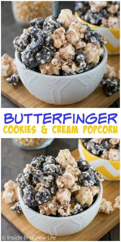 Covering popcorn in white chocolate, Oreo cookies, and Butterfinger candy is the best way to do popcorn! It will not last long! Covering popcorn in white chocolate, Oreo cookies, and Butterfinger candy is the best way to do popcorn! It will not last long! Candy Popcorn, Flavored Popcorn, Gourmet Popcorn, Oreo Popcorn, Popcorn Snacks, Popcorn Mix, Sweet Popcorn, Popcorn Balls, Yummy Snacks