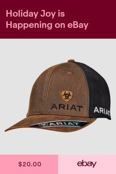 b1ab9c8dfd9 Ariat Western Mens Hat Baseball Cap Snap Clousure Logo Black Brown 1501502