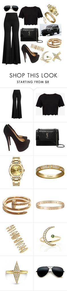 """Untitled #582"" by gabi-gabi1 ❤ liked on Polyvore featuring Rosetta Getty, Ted Baker, Christian Louboutin, Yves Saint Laurent, Rolex, Cartier, Forever 21 and EF Collection"