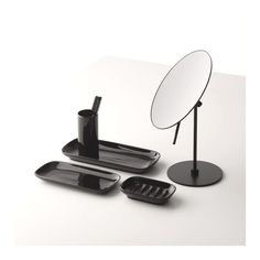 Black bathroom accessories will tie in with the design of other modern features, such as heated towel rails, taps and shower heads, to give a coherent bathroom design. Easy Bathroom Updates, Simple Bathroom, Bathroom Accesories, Heated Towel Rail, Shower Heads, Mirror, Modern, Taps, Accessories