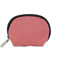 Red+And+White+Chevron+Wavy+ZigZag+Stripes+Accessory+Pouches+(Small)++Accessory+Pouch+(Small)