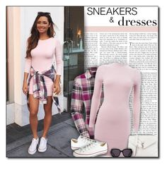 """""""#871 - Sneakers & Dresses"""" by lilmissmegan ❤ liked on Polyvore featuring The North Face, Converse, Yves Saint Laurent, TOMS, GetTheLook, StreetStyle and SNEAKERSANDDRESSES"""