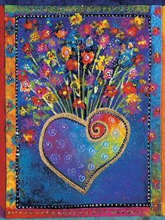 Colorful fabric art by Laurel Burch.  #hearts