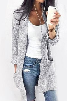 Double 11^^ BIG SALE!!!Pure Color Long Length Cardigan with Pocket - US$25.95 -YOINS