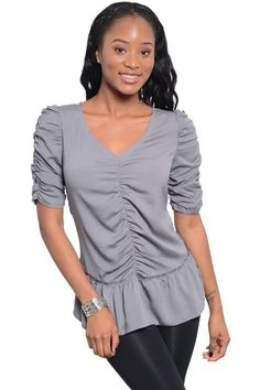 39.99$  Watch now - http://vigar.justgood.pw/vig/item.php?t=5tvb2sx48741 - Craze Ruched Short Sleeve Knit Top
