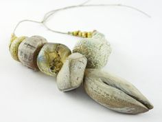 Artisan Ceramic BeadS Large collection  natural by greybirdstudio, £50.00