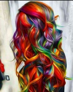 This picture has some filters going on, but it's still beautiful. It's Rainbow Bright hair!
