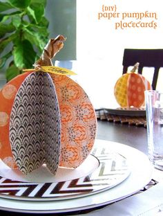 Fall in Love With DIY Paper Pumpkin Place Cards