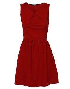 Pleat Detail Sleeveless Skater Dress in Burgundy £ 17.95 #chiarafashion