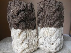 Hand Knitted Boot Cuffs Leg Warmers 2in1 Cream and Brown Tweed on Etsy, $26.00
