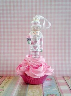 NUTCRACKER FAKE CUPCAKE CHRISTMAS ORNAMENT, PINK CHRISTMAS DECORATIONS, PROPS…