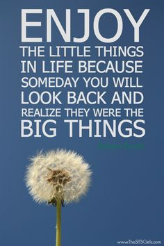 Enjoy the little things in life because some day you will look back and relize they were the big things