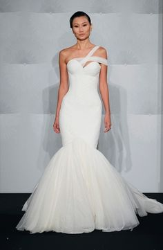 Asymmetric Mermaid Wedding Dress  with Dropped Waist in Tulle. Bridal Gown Style Number:32990434