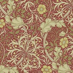 Morris Seaweed Wallpaper From the Morris & Co collection 'Morris Seaweed' design in red and gold shows a free flowing and sinuous pattern which captures the underwater movement of plants.