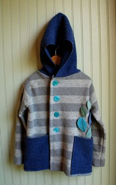 Boy's Hoodie Sweater made from Reclaimed Merino and Lambswool. rompshop.