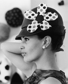 A woman modelling a hat by milliner James Wedge, London 1964. #passion4hats
