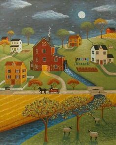 The Olde Red Mill Print by Mary Charles. All prints are professionally printed, packaged, and shipped within 3 - 4 business days. Choose from multiple sizes and hundreds of frame and mat options. Henri Rousseau, Fine Art Amerika, Primitive Folk Art, Primitive Painting, Country Art, Autumn Art, Naive Art, Whimsical Art, Illustration Art