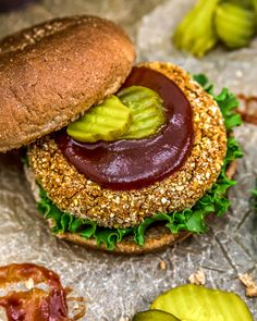 """This healthy Vegan BBQ """"Chicken"""" Patty sandwich is brimming with a bold spice rub, a smoky crumb coating, and topped with our Sweet and Smoky BBQ Sauce. #vegan #oilfree #glutenfree #plantbased 
