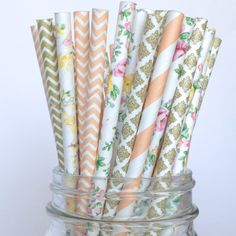 You will love these vintage styled collection of peach, gold and floral straws. They are just beautiful and they are the perfect complement to your next special event. You will receive 5 varieties of
