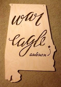 Auburn War Eagle State of Alabama Wooden Sign by TCWoodshop, $40.00