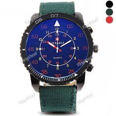 Новая мода моды большие круглые часы досуга оборот края холст с кварцевые часы мужские часы WWT-399438