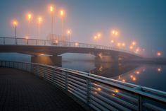 The Porvoo Bridge, in the morning mist just before sunrise