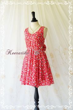 A Party Dress V Shape Red Heart Print by LovelyMelodyClothing, $48.30