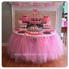 """Pretty in shades of pink for this princess baby shower. My sister Renee and I created this adorable look by making the pink tulle tutu skirt and using a round table instead of a rectangular one to make it more intimate and better feature our accent pieces. The custom baby face cake pops and favor tags with the baby name """"Lauren"""" really helps to personalize this party for our client. Not only was this table a hit with the little girls but with the """"big"""" girls too!"""