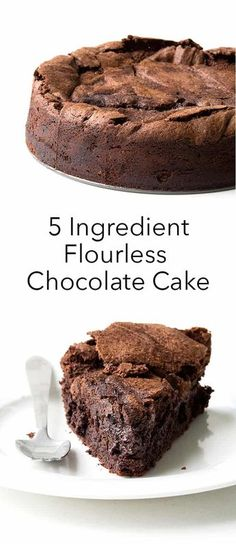 5 Ingredient Flourless Chocolate Cake - Sweetest Menu - - Perfect flourless chocolate cake with an extra fudgy middle and crispy edges. Best Flourless Chocolate Cake, Flourless Chocolate Cakes, Chocolate Recipes, Cake Chocolate, Gluten Free Chocolate Cake, Flourless Desserts, Chocolate Snacks, Chocolate Christmas Cake, Christmas Chocolates