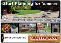 Start planning for summer! Turf Installation, Stone Deck, Paving Stones, Irrigation, Flower Beds, Walkway, Trees To Plant, Outdoor Lighting, Shrubs