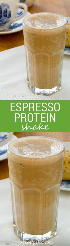 Espresso Protein Shake is creamy and thick like a frozen espresso drink from the coffee shop — but high-protein, dairy-free, soy-free and refined sugar-free. ~ http://cookeatpaleo.com