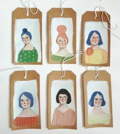 All six tags off to a new home.. My etsy shop now has just prints for sale but my big cartel has originals and dolls.. #paintings #arttags #tinyart #smallart #affordableart