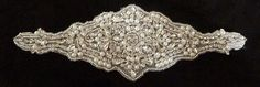 "Decadent bridal sash applique, wedding belt applique, rhinestone pearl applique - 9.25"" x 3"""