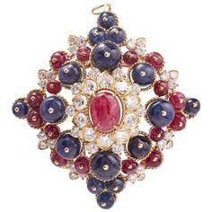 1960s Van Cleef & Arpels Ruby Sapphire Diamond Pin