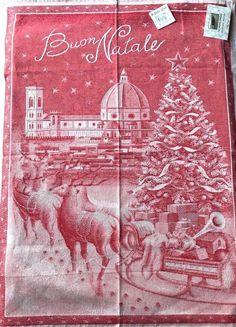 Le Telerie Toscane Italy Kitchen Tea Towel CHRISTMAS TREE REINDEER SLEIGH NWT #LeTelerieToscane