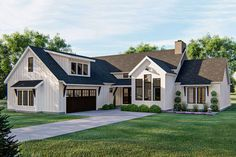 Plan Modern Farmhouse Plan with Bonus and Lower Level Expansion The exterior of house plan (with expansion to the bonus room for a possible bedroom) screams mo Architectural Design House Plans, Architecture Design, Modern Farmhouse Plans, Farmhouse Bedrooms, Farmhouse Ideas, Large Family Rooms, Walk In Pantry, Reno, House Floor Plans
