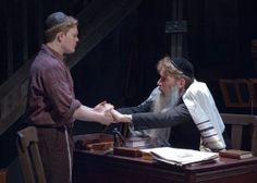 Asher Lev (Alex Weisman, left) receives counsel from the Rebbe (Lawrence Grimm) in TimeLine Theatre's Chicago premiere of My Name is Asher L...