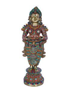 Large Size Deepalakshmi With Fine Inlay Work, Hindu Brass Statue With Inlay Work . Hindu Statues, Brass Statues, Indian Folk Art, Hinduism, Galleries, Sculptures, Sculpture